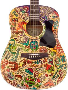 Acoustic Guitars – Page 9 – Learning Guitar Guitar Painting, Guitar Art, Cool Guitar, Guitar Doodle, Prs Guitar, Guitar Tattoo, Ukulele, Music Is Life, My Music
