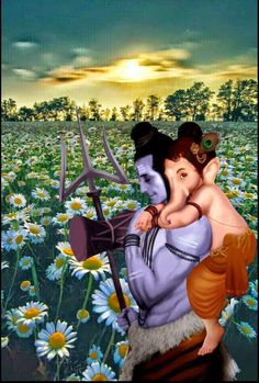 Lord Shiva and Bal Ganesh on Himalayan tour in creative art painting