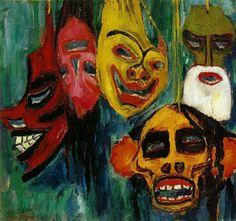 Mask Still Life III (1911) Emil Nolde. De lachende gezichten zien er dreigend, haast aanvallend uit. Doordat het maskers zijn heb je het idee dat iets wordt verborgen. De overdreven lach geeft je het idee dat er iets wordt weggewuivd en de fronsende wenkbrouwen van zowel de rood/zwarte als de geel/rode geven het beeld een gemene uitstraling