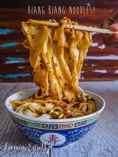 Send Noods: How To Make Amazing Biang Biang Noodles {Easy!} - Foodie Love - Biang Biang Noodle recipe authentic @ Not Quite Nigella - Chinese Food Recipes, Vegetarian Recipes, Cooking Recipes, Pork Recipes, Healthy Recipes, Chinese Desserts, Healthy Food, Easy Recipes, Recipies