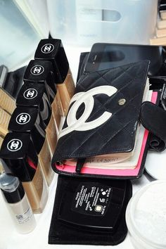 chanel agenda with pink interior