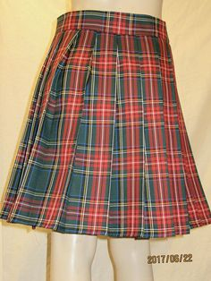 Green Stewart tartan plaid pleated skirtplus size
