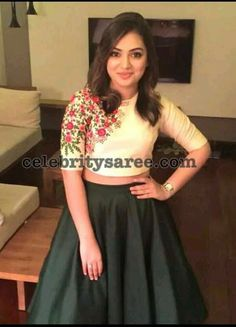 Latest One Side Work Blouse Designs Indian Skirt And Top, Long Skirt And Top, Dress Indian Style, Crop Top Designs, Blouse Designs, Dress Designs, Kurta Designs, Indian Designer Outfits, Designer Dresses