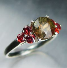 1.45cts Natural Bi-colour Andalusite & red sapphire 925 by EVGAD