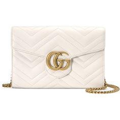 Gucci GG Marmont Mini Matelass& Chain Bag ($1,300) ❤ liked on Polyvore featuring bags, handbags, shoulder bags, handbags crossbody bags, white, mini crossbody purse, white leather shoulder bag, leather crossbody purse, leather man bags and leather purses