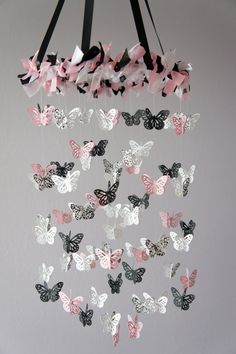 Damask Nursery Mobile Pink Black & White by LoveBugLullabies, $55.00