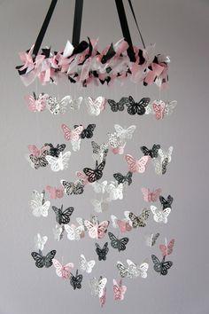 Damask Nursery Mobile Pink Black & White by LoveBugLullabies, $55.00