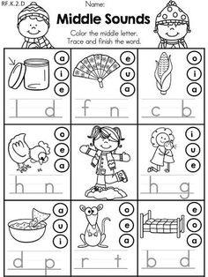 Winter Middle Vowel Sounds >> Color the correct vowel and write the word to match the picture >> Part of the Winter Kindergarten Literacy Worksheets