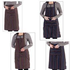Vintage Adult Stripe Bib /Haft Waist Apron With Pockets Chef Waiter Kitchen Cook