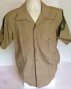 Genuine GI Issue Mens USMC Marine Corps Dress Khaki Short Sleeve Shirt Sz Large