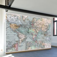 Vintage World Map Wall Mural Decal // WallsNeedLove