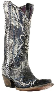 Cowgirl boots, antique silver lacing