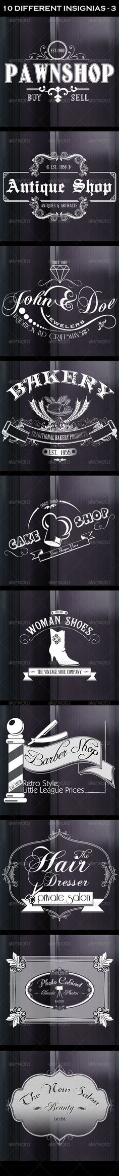 10 Retro Insignias #GraphicRiver 10 retro style signs or banners perfect to use as logos, labels, poster, flyer or sticker, packaging product design, or as promotion graphics for your website or print design. Great for photography overlay signs. Completely editable, and resizable. The main file includes: 10 Photoshop insignias (badges) files 10 eps vector files 10 png high rezolution file