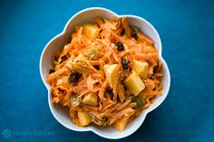 Classic Carrot Salad ~ Traditional grated carrot salad with carrots, raisins, chopped apple and mayonnaise.  One of the easiest salads to prepare, as well as being kid-friendly and good for you. ~ SimplyRecipes.com