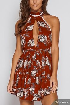 Red Sexy Random Floral Print Halter Backless Design Playsuit