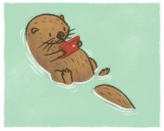 Smart Phones by Jacob Grant, via Behance Otters are hella cool! Cute Animal Drawings, Cute Drawings, Cute Illustration, Character Illustration, Character Art, Character Design, Arte Cyberpunk, Dibujos Cute, Tier Fotos