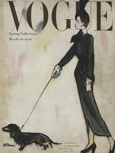 Publication Name | March 1 1947 Vogue Vintage, Capas Vintage Da Vogue, Vintage Vogue Covers, Basset Dachshund, Dachshund Funny, Dachshund Art, Daschund, Vintage Dachshund, Vogue Magazine Covers