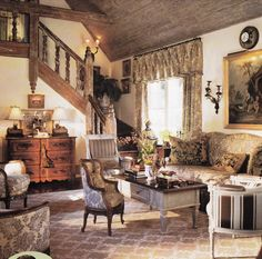 Designer Charles Faudree found on Cote De Texas. French Country Kitchens, French Country Cottage, French Country Style, Country Living, French Decor, French Country Decorating, Paisley Curtains, Country Interior Design, Traditional House