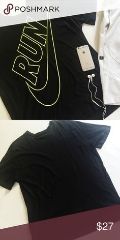 """▪️SALE▪️Nike Men's Dri-Fit Shirt Nike Dri-Fit Men's Graphic Tee in black and neon yellow.  Moisture-wicking cotton blend.  Great for any workout!  Pre-loved but in excellent condition.  No holes, stains or tears.  ▪️️SALE! $27 marked down to $23!▪️  Measurements laying flat: Armpit to armpit: 23"""" Waist (across): 23.5"""" Total length: 29.5""""  Sleeve length: 10.5"""" Nike Shirts"""