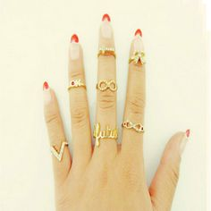 Knuckle Finger Ring 7pc Set