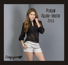 Look PERFEITO! Camisa Transparente + Shorts Tweed(tecido com fios de lã super usado no inverno)