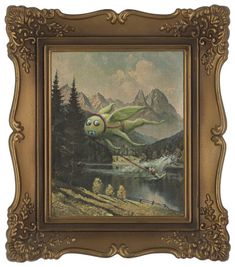 adding monsters to thrift store paintings
