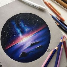 Galaxy sunset drawing