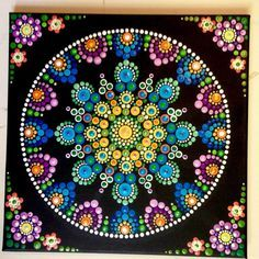 purple, blues and yellows dot mandala Mandala Artwork, Mandala Canvas, Mandala Painting, Rock Painting Patterns, Dot Art Painting, Stone Painting, Mandala Design, Mandala Pattern, Mandela Art