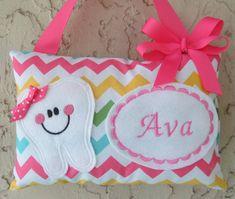 Hada de los dientes almohada personalizada chica Chevron Riley Blake