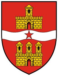 This is the version of the coat of arms of Budapest used between 1964 and 1990, when the communist regime rather frowned upon all the religious symbolism of the holy crown of St.Stephen that formerly crowned it. The upper part represents Pest, and the lower part represents Buda with the royal palace and castle. The flowing strip in the middle is the Danube.