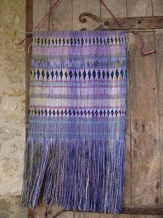 Handwoven Silk Wall Hanging, Double Woven with Handspun Silk, Woven by Tisserande