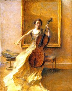 ♪ The Musical Arts ♪ music musician paintings - Lady with a Cello, Thomas Wilmer Dewing