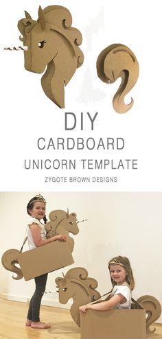 DIY Cardboard Unicorn Costume TEMPLATE by Zygote Brown Designs