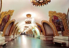 "This is Moscow subway. This particular photo is the ""Kievskaia"" station. It has a lot of epic mosaics about Soviet era. Please look down for one amazing picture:"
