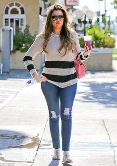 Khloe Kardashian wearing Fendi Jelly Flat Thong Sandal Chanel 2.55 Bag in Light Pink Dita Mach Two Aviator Sunglasses in Matte Black