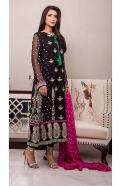 *Baroque Embroidered Chiffon Collection 2015- Black with Pink Embroidered Chiffon Dress (New)