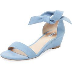 Elorie Women's Ankle-Wrap Demi Wedge Sandal - Blue - Size 6 ($89) ❤ liked on Polyvore featuring shoes, sandals, blue, leather sandals, mid heel wedge sandals, self tying shoes, wrap around sandals and blue sandals