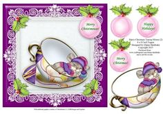 Merry Christmas Teacup Mouse 2 8 x 8 Card Topper on Craftsuprint - Add To Basket!