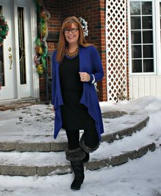 Banana Republic LBD with a cardigan and leggings Cougar Boots