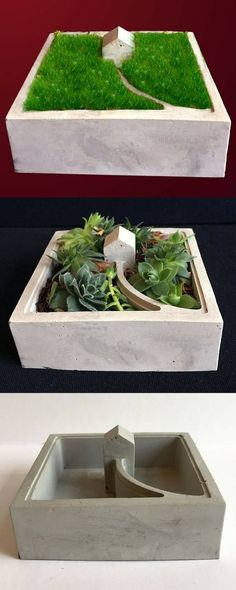 This concrete walk to house planter is so cute. I really love this creative idea. #commissionlink #concrete #cement #planter #walktohouse #concretehouse #decor #home #gardening