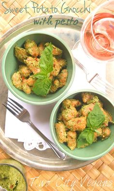 Click for the recipe for this beautiful Sweet Potato Gnocchi with Pesto!