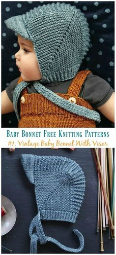 Vintage Baby Bonnet With Visor Knitting Free Pattern - Baby .-Vintage Baby Bonnet With Visor Knitting Free Pattern – Baby Bonnet Hat Free Knitting Patterns Vintage Baby Bonnet With Visor Knitting Free Pattern – Baby Bonnet Hat Free Knitting Patterns - Baby Boy Hats, Beanie Babies, Knit Baby Hats, Knitted Baby Clothes, Crochet Baby Bonnet, Crochet Hats, Crochet Beanie, Crochet Granny, Crochet Flower