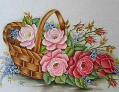 papers.quenalbertini: Vintage basket with flowers image