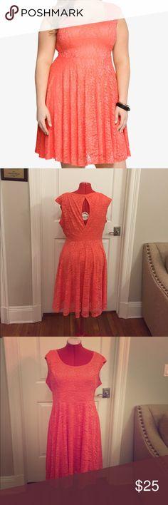 Torrid coral lace open back dress size 2x Great for summertime! Torrid coral lace open back dress.  Size 2x torrid Dresses Midi