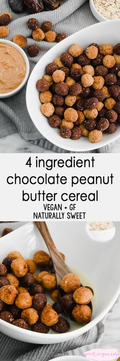 Vegan 4 ingredient chocolate peanut butter cereal is a fun breakfast or dessert treat that'll take you straight back to childhood, minus the sugar crash. Simple, gluten free, and fruit-sweetened! Vegan Breakfast Recipes, Vegan Snacks, Best Breakfast, Vegan Recipes, Vegan Desserts, Free Recipes, Vegetarian Breakfast, Vegan Sweets, Healthy Sweets
