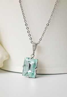Light Blue Crystal Necklace Light Azore Swarovski