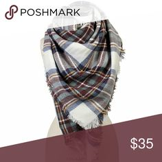 "NWT maroon and blue plaid tartan blanket scarf Gorgeous, super warm blanket scarf perfect for fall and winter. Matches almost any outfit and exactly on trend!  Don't get caught without your thick warm blanket shawl/scarf this season. Measures 55"" x 55"". Boutique  Accessories Scarves & Wraps"
