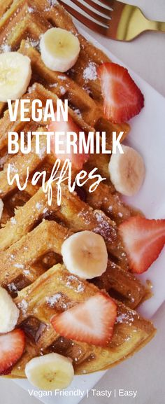 Vegan Buttermilk Waffles Hungry for a delicious vegan breakfast? Try these tasty vegan buttermilk waffles! Top them with your favorite fruits! The perfect weekend breakfast! They are super easy to make and come together in minutes! Do yourself a favor and Vegan Foods, Vegan Dishes, Vegan Desserts, Vegan Vegetarian, Vegan Lunches, Vegan Raw, Vegan Snacks, Vegan Breakfast Recipes, Delicious Vegan Recipes