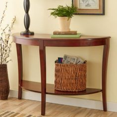 Stylish Console Table With Lower Shelves Living Room Furniture Cherry Finish New