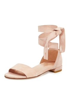 9a8d468d1 Corbata Suede Ankle-Wrap Sandal by Stuart Weitzman. Self-tie ankle-wrap  strap with tassel ends.